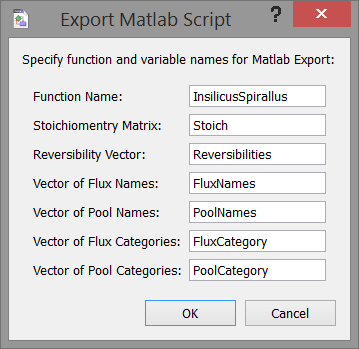 Omix Wiki | Stoichiometry Matrix Export Plug-In